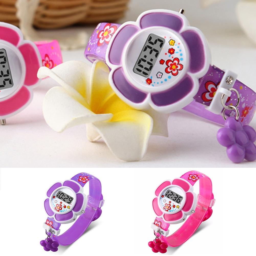 Encantadores relojes para niños con flores, lindos relojes para niños, reloj de pulsera Digital de silicona con dibujos animados, relojes de muñeca para niños y niñas, relojes de regalo