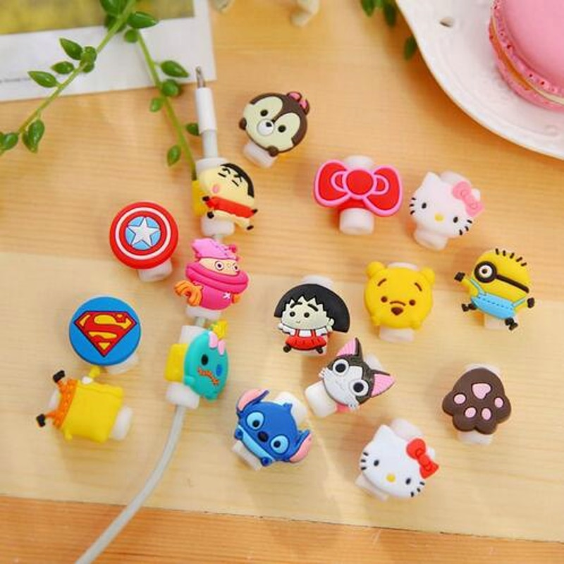 10pcs/lot Cartoon Cable Protector Data Line Cord Protector Protective Case Cable Winder Cover For iPhone USB Charging Cable cartoon cable protector data line cord protector protective case cable winder cover for iphone charging cable protecto