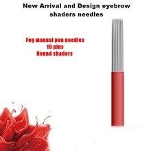100Pcs Red Shaders Permanent Makeup Manual 19 Pin/Needle Blade Eyebrow Tattoo Products Free shipping
