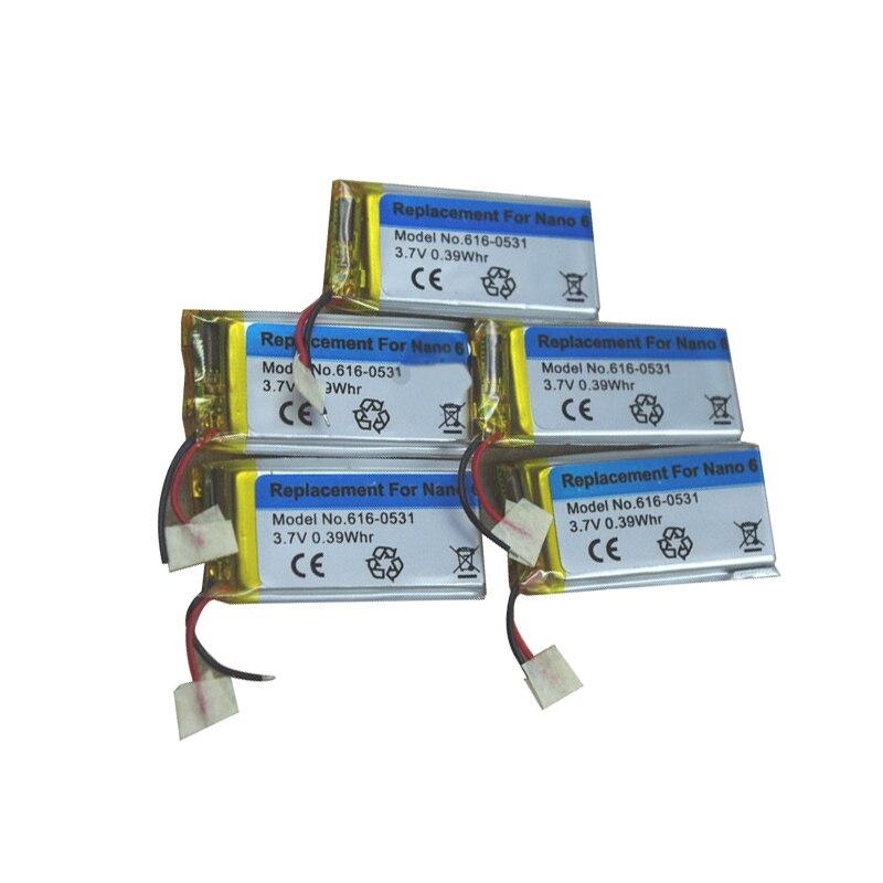 100% prueba Original batería de Li-ion de 3,7 V de 616-0531 de 330mAh para iPod Nano 6 6th Gen 8GB 16GB