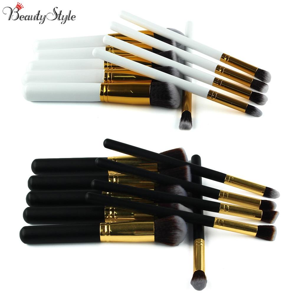 10 pçs make-up profissional macio cosméticos escovas sobrancelha sombra rosto maquiagem pó escova conjunto ferramentas kit kryolan preto/branco