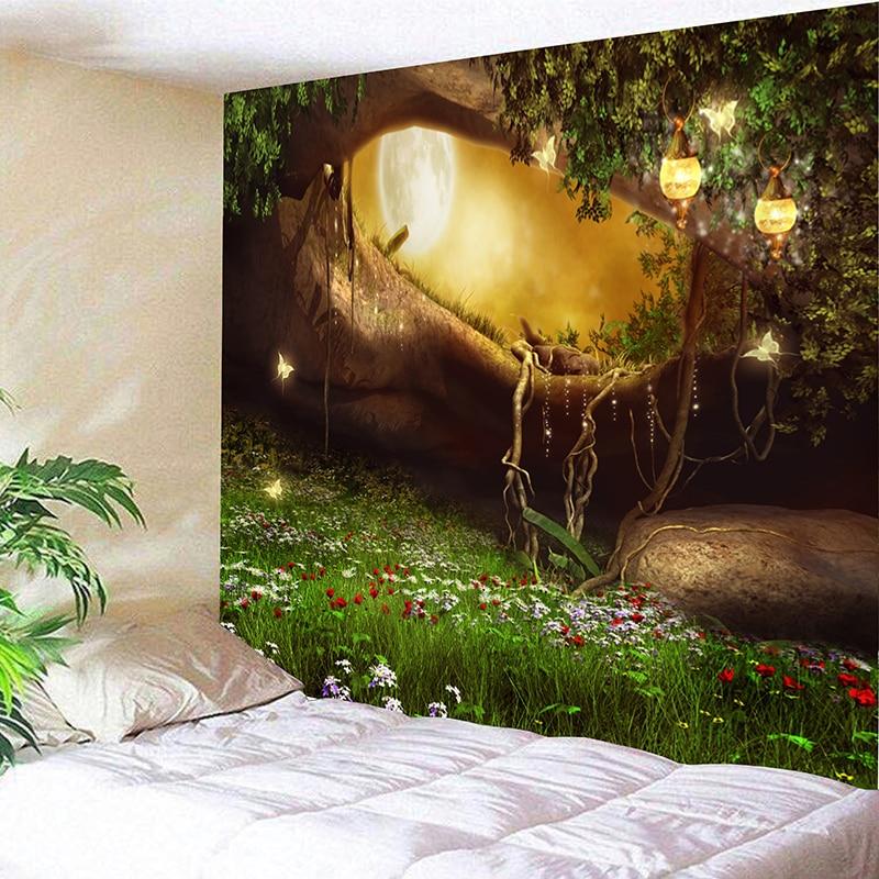 2019 Hippie Mandala Tapestry Moonlight Outside Forest Tree Landscape Wallpaper Polyester 150x200cm
