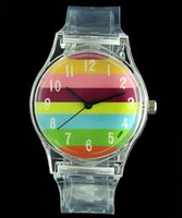 Часы детские в разноцветную полоску, спортивные прозрачные, с мультяшным рисунком