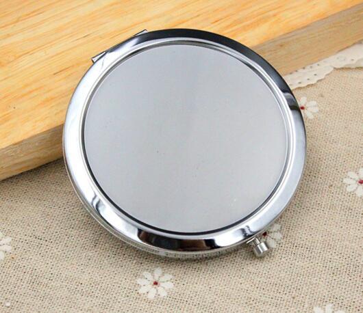 100 círculo de PCs espejo compacto en blanco espejo de maquillaje de plata-Fedex & DHL & EMS envío gratis # sl1139
