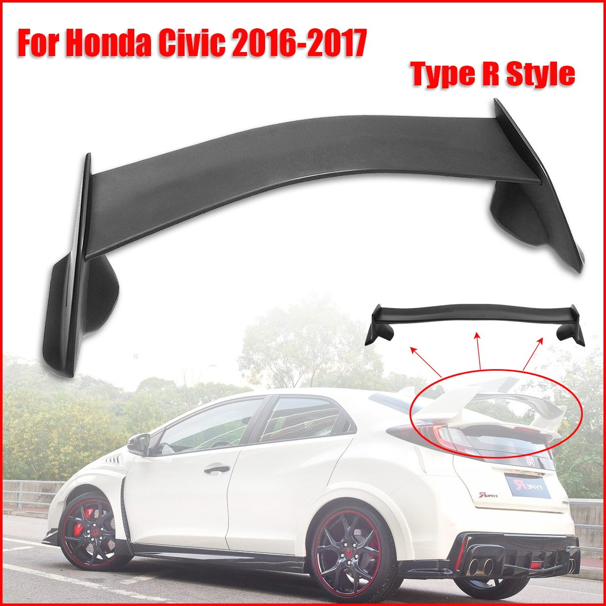 Kit de carrocería Tipo R para Honda 16-Up Ci vic Cou pe 2Dr ABS gran actualización Auto Refit Spoilers negros