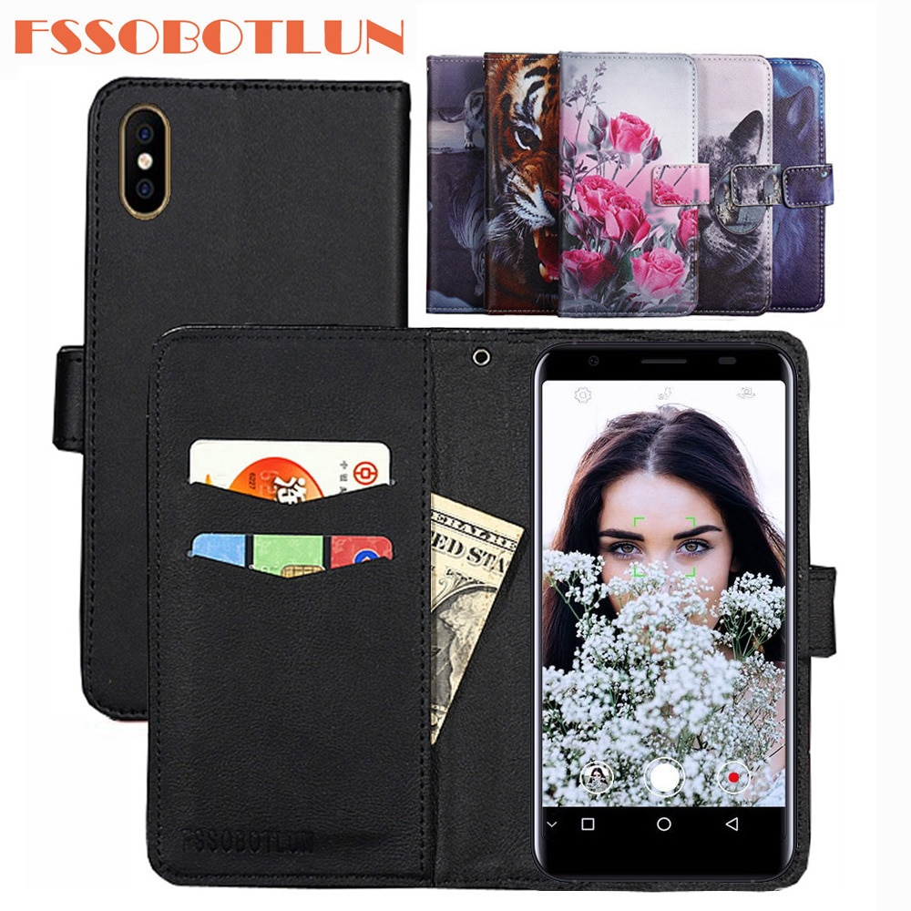 FSSOBOTLUN For Doogee X55 Case PU Leather Retro Flip Cover Shell Magnetic Fashion Wallet Cases Kicks