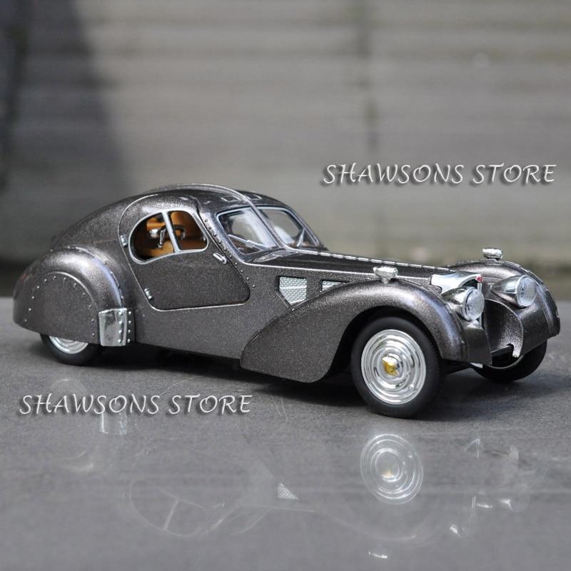 128, juguetes en miniatura moldeados a presión, coche VINTAGE, tirar hacia atrás, tipo BUGATTI, 57SC, sonido y luz ATLANTIC