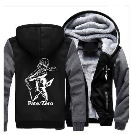 Nuevo Fate zero Hoodie Anime Saber Cosplay abrigo chaqueta Casual invierno grueso cremallera caliente sudadera hombres