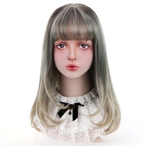 """20""""Synthetic Curly Lolita Wigs With Bangs Blonde Grey Ombre Long Hair Costume Cosplay Lolita Wigs For Women Heat Resistant"""
