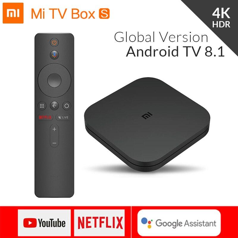 Original global xiao mi caixa s 4 k hdr android tv 8.1 mi boxs 2g 8g wifi google elenco netflix iptv conjunto de topo mi caixa 4 media player