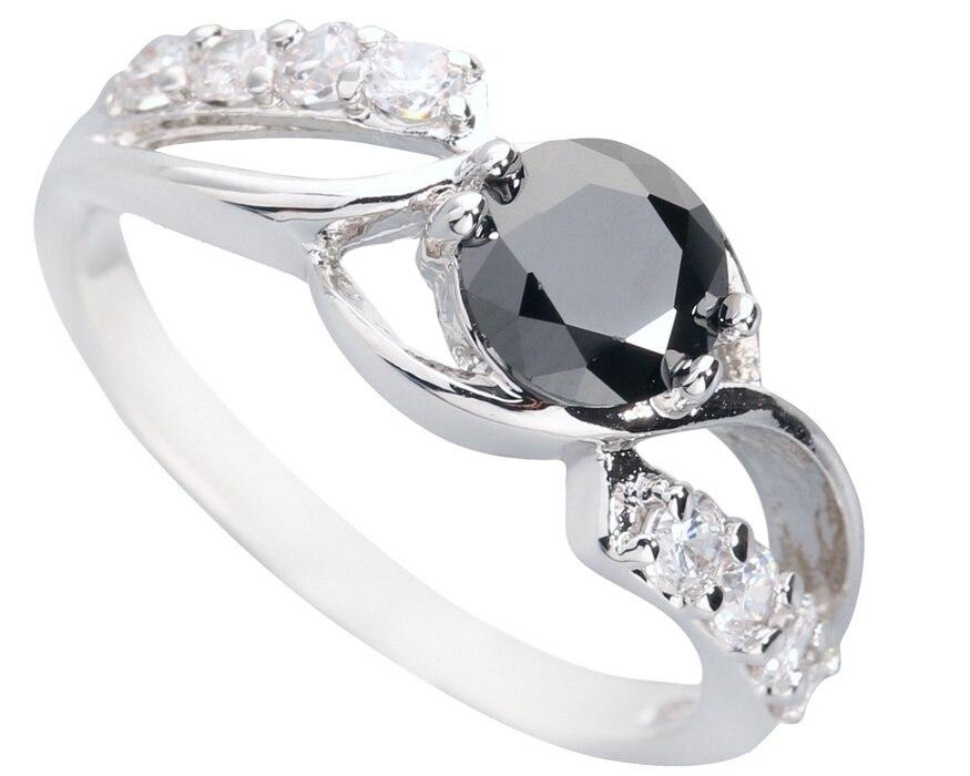 Posh Black Stone 5*5 milímetros Semi-precious Stone Q1461 Legal Para As Mulheres Anel de Prata