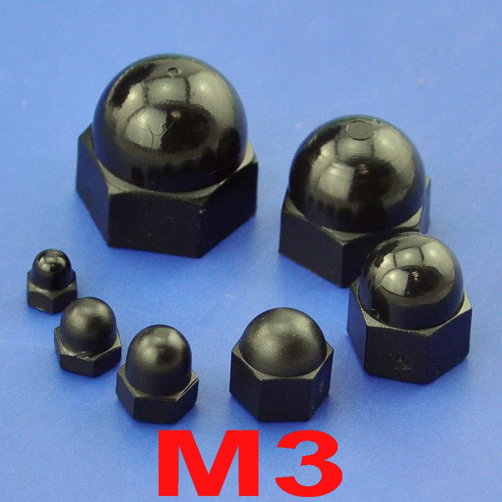 ¿(100 unids/lote) métrica M3 de Nylon negro Bellota tuerca hexagonal?