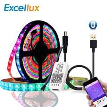 Bande LED cc 5V WS2812B Bluetooth USB 5050 contrôleur dapplication rvb adressable individuellement bande lumineuse Led WS2812 jeu de bandes de pixels