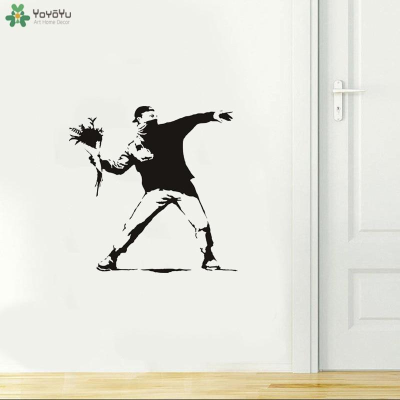 Calcomanía de pared yoyoyu Hooligan con flores vinilo pegatina de pared Banksy Street Graffiti galería de arte calcomanía destacada decoración QQ208