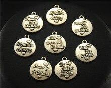 5 pièces couleur argent langue espagnole pour amour Bracelet à breloques ronde collier fabrication de bijoux à la main bricolage 16mm A1624-1631