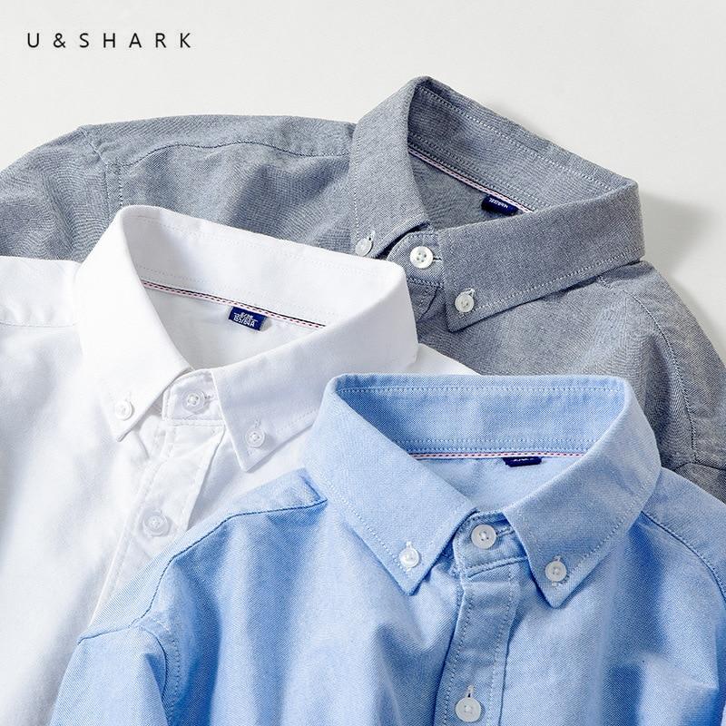 U&SHARK Spring Autumn Long-Staple Cotton Oxford Shirt Long Sleeve Men Blouse Social Casual Shirts Classic Mens Dress Shirts