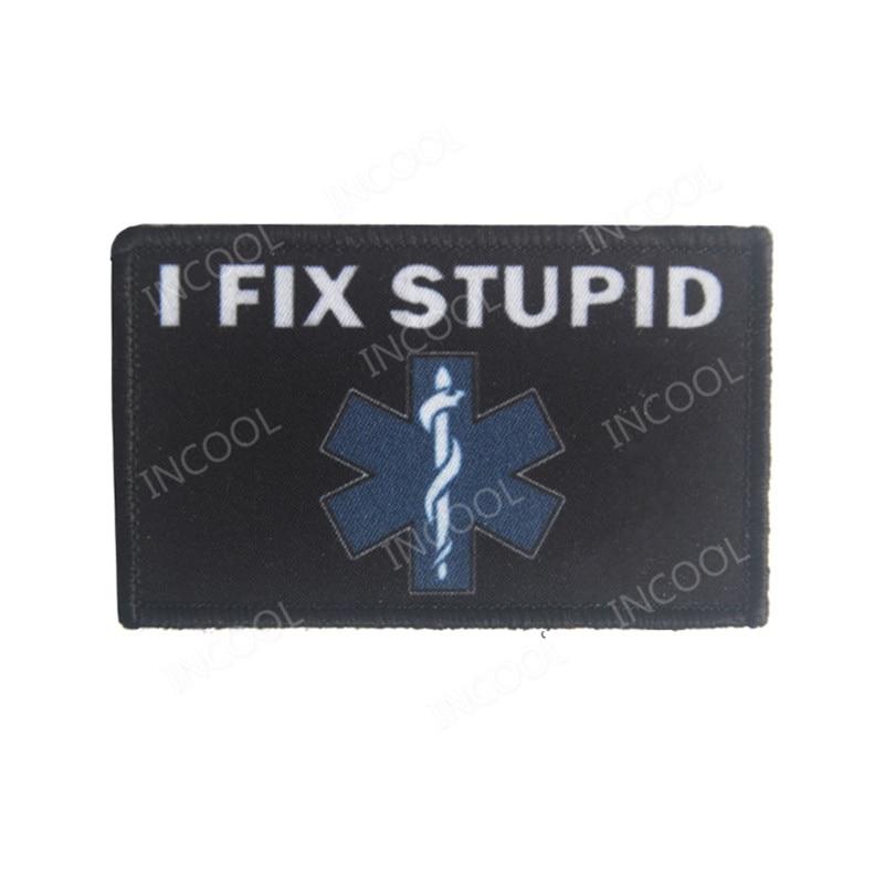 Parche de bordado I Fix EMT medico emergencia estrella médica vida táctico parche de moral militar parches apliques emblema bordado insignias