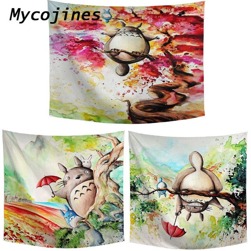 Desenhos animados anime totoro impressão tapeçaria gato girassol borboleta padrão piquenique esteira mesa família quarto decoração da parede cobertor
