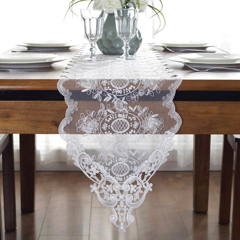 Camino de mesa de encaje bordado para TV, soporte de mesa, cubierta de decoración para mesa de 30cm x 70 90 120 150 180 210 250 280cm champán blanco