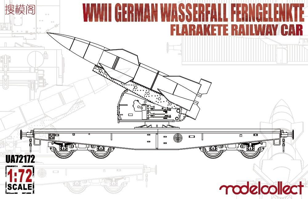 Coche de ferrocarril modelo UA72172 1/72 WWII alemán wasserfall ferngelenkte flarakete