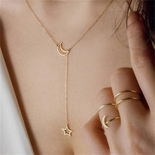 New Fashion Jewelry Simple Moon Star Necklace Clavicle Chain Short Necklace Gift For Women Girl