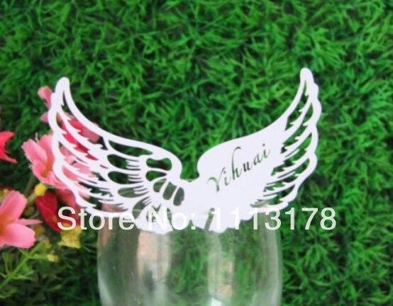 Envío Gratis marcadores de copa de vino de ala baratos de la boda de la torta Toppers cumpleaños baby shower fiesta decoraciones blanco