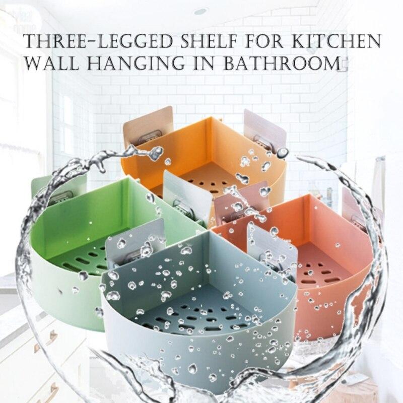 Estante de plástico para pared para baño, trípode, potente estantería de lavado, estante de almacenamiento para inodoro, armario colgante de pared para esquina de baño