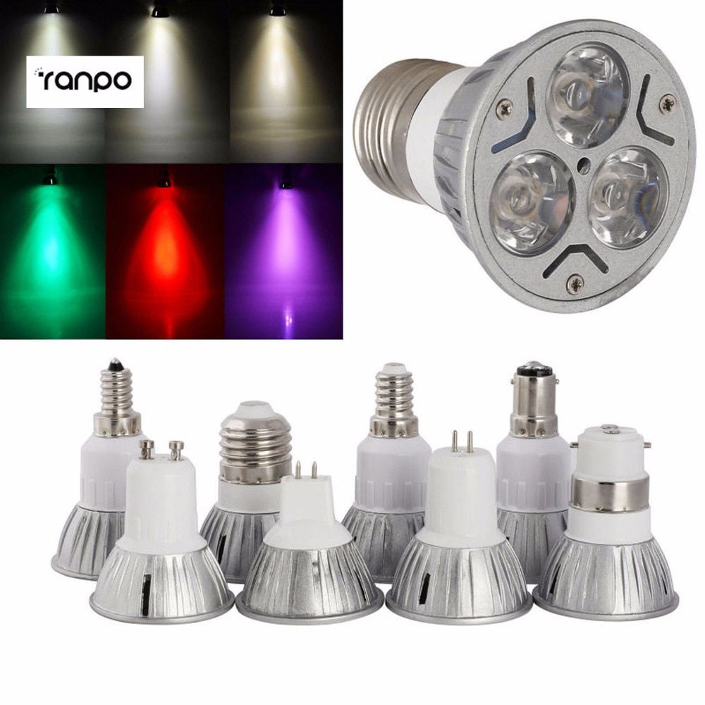 7 colores 3W B15 B22 E27 E14 GU10 MR16 GU5.3 focos LED fresco cálido Natural blanco rojo amarillo azul verde púrpura bombilla de luces