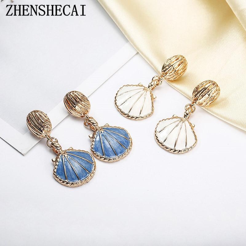 Романтичные Разноцветные серьги русалки из смолы, белые, синие жемчужные серьги-капли из ракушки, простые милые серьги, уникальные серьги, ювелирные изделия в форме русалки e027