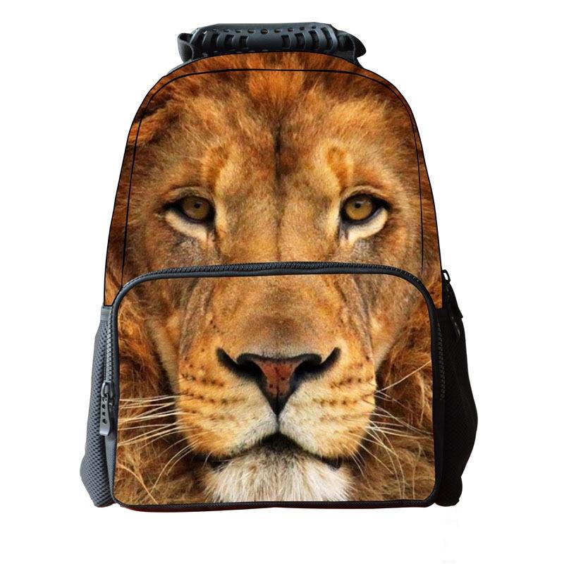 2019 Unisex Women Men Felt 3D Animal Horse Lion Printed Backpack Student School Bag For Teenagers Boys Girls Laptop Backpack