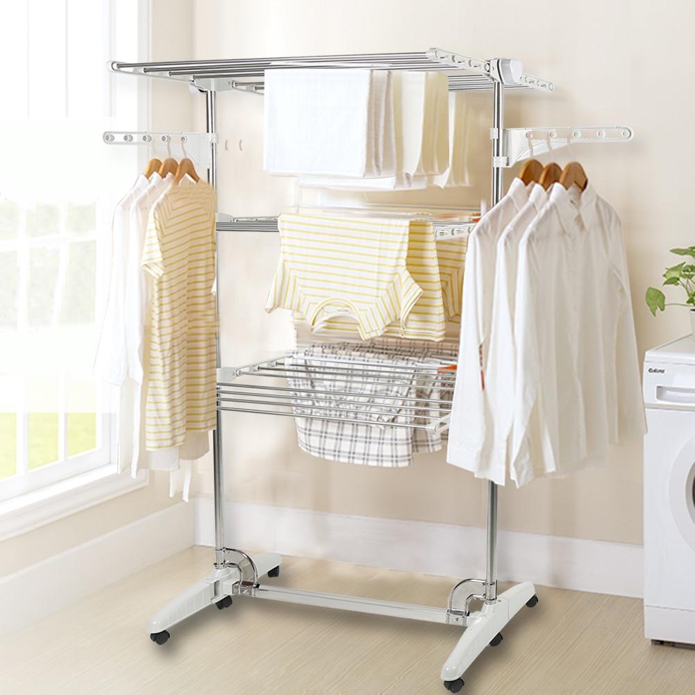 Tendedero plegable de 3L/4L para ropa, secador de ropa de uso doméstico, estante para ropa, pantalones HWC