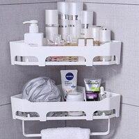2PC Magic Bath Shelf Storage Rack Corner Shower Shelf Bathroom Shelves With Towel Bar Hooks Kitchen Home Decoration Accessories
