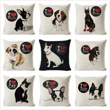 Bull Terrier Beagle housses de coussin Boston Terrier Boxer chien taies doreiller bouledogue chat Chihuahua Doberman décoration de la maison taie doreiller