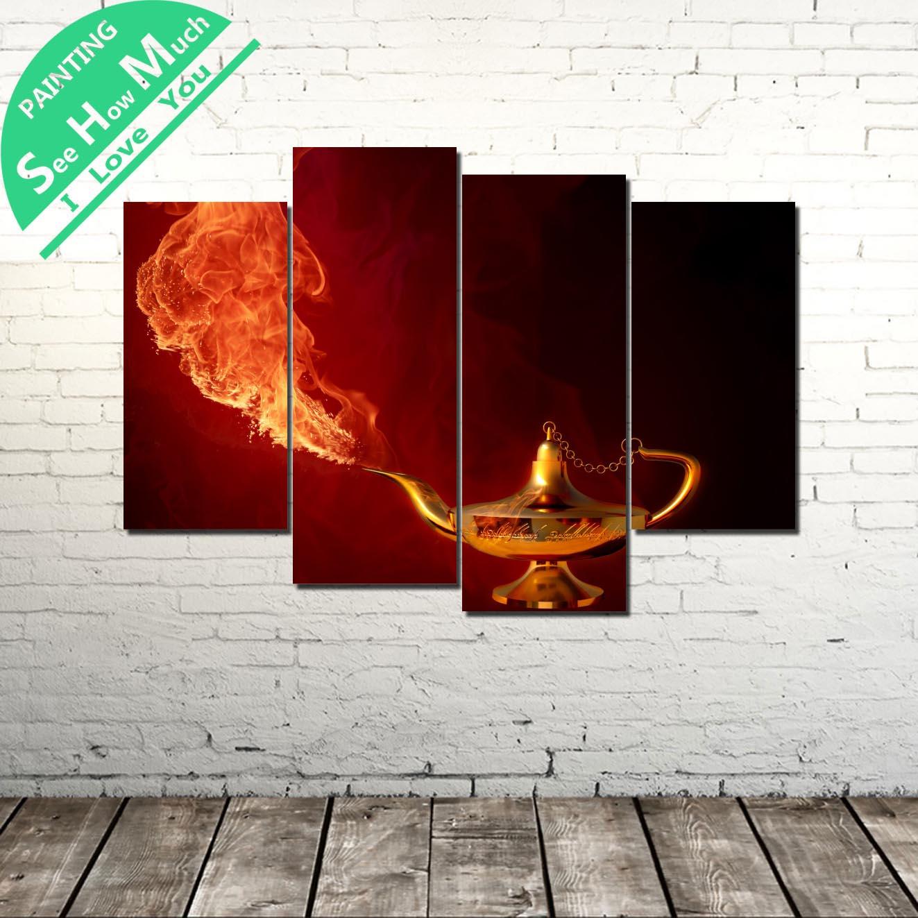 4 piezas lámpara mágica de Aladino pared cartel de decoración de arte vintage imágenes decorativas lienzo impresiones pinturas, impresiones de arte cuadros de pared