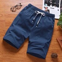mens summer shorts cotton solid loose casual shorts elastic waist bermuda masculina plus size 5xl work short pants short homme