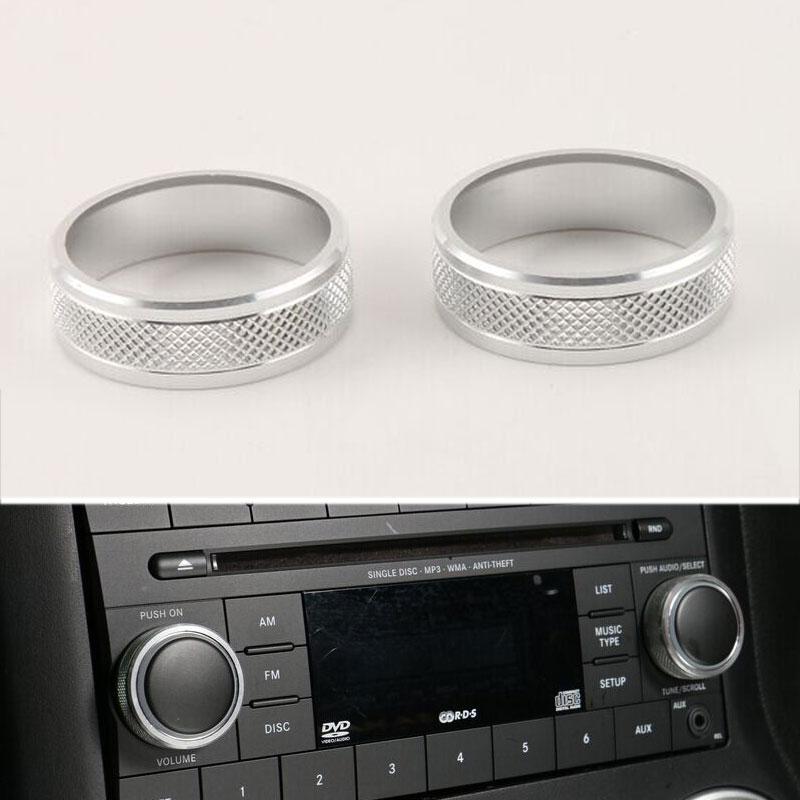 5 colores aleación de aluminio Centro CD interruptor botón Trim Knob cubierta anillo decoración ajuste para Jeep Wrangler Compass Patriot 2011-2015