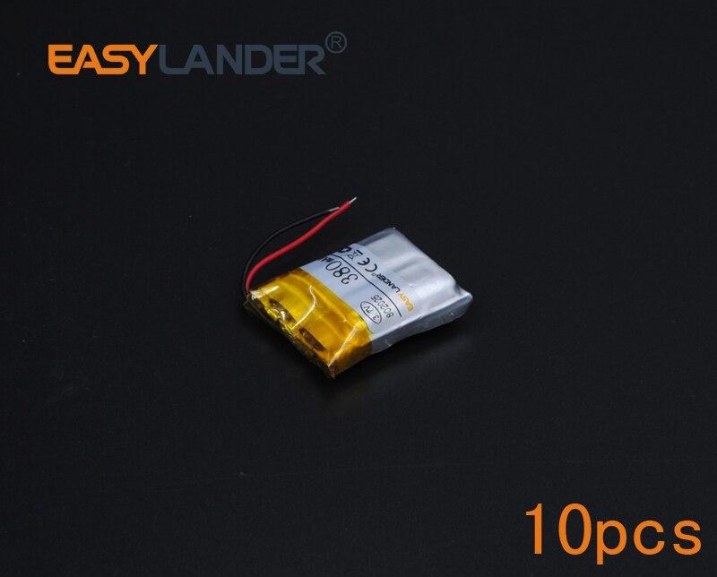 10 unids/lote 3,7 V 380mAh batería recargable de Li-ion polímero de litio para auriculares bluetooth altavoz mp3 pulsera grabadora 082025 802025