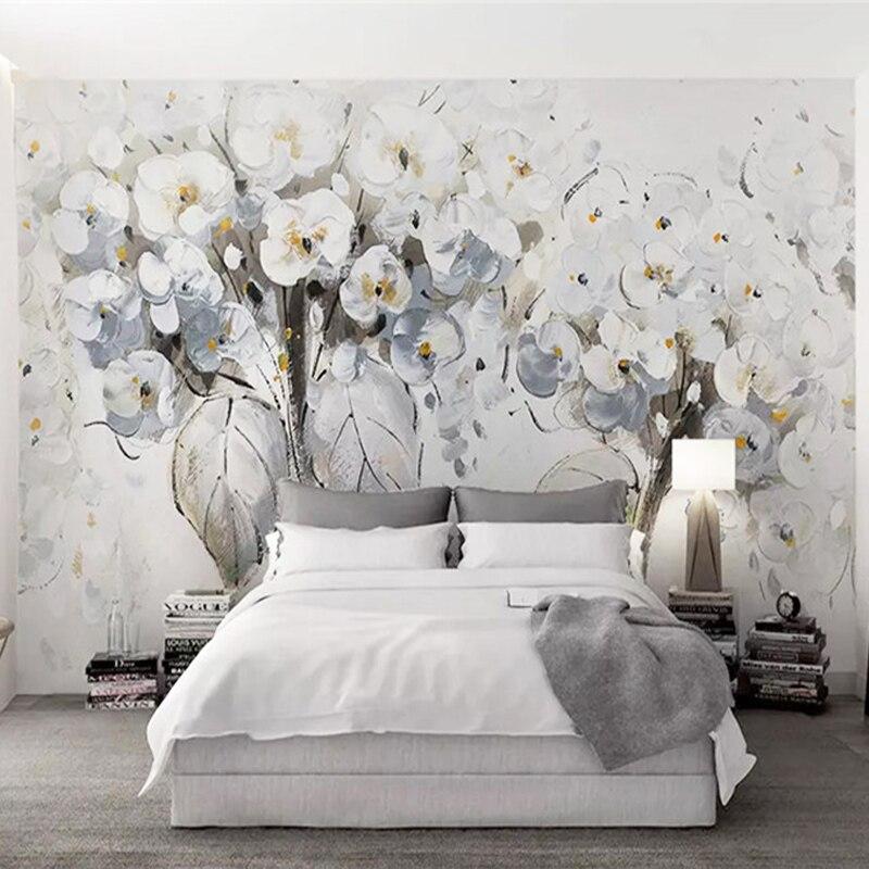Современная модная белая картина маслом с цветами Настенные обои 3D для гостиной спальни абстрактное искусство домашний декор настенная бумага для стен 3D