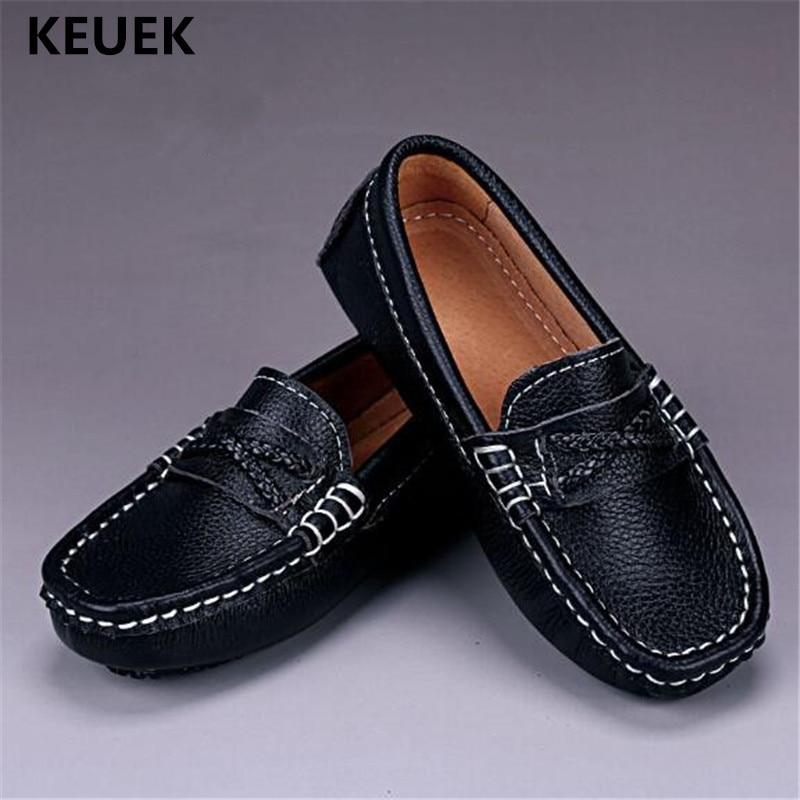 حذاء موكاسين من الجلد الأصلي للأولاد ، حذاء موكاسين من الجلد الأسود للأطفال ، نمط المدرسة ، 041