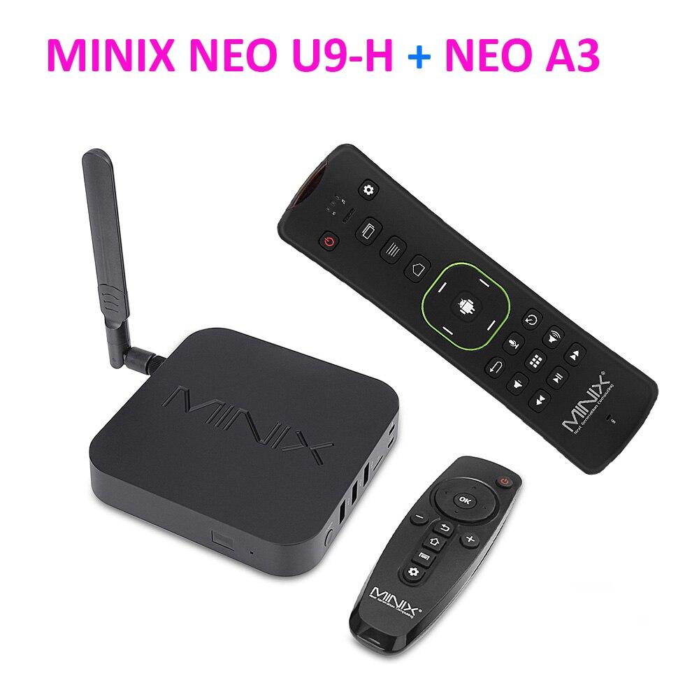 DHL MINIX NEO U9-H + A3 Dispositivo de TV inteligente con entrada de voz ratón de aire de 64-bit Octa-Core Hub de medios para Android 2GB 4K HDR Dispositivo de TV inteligente