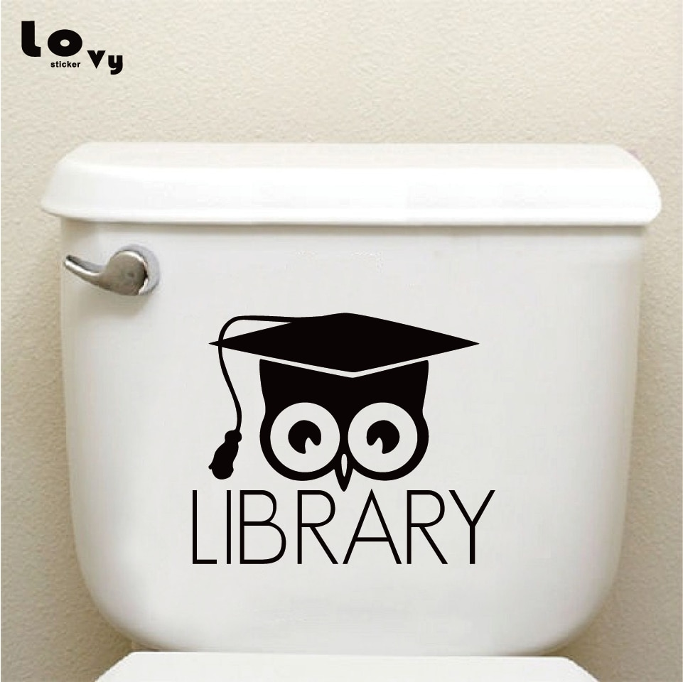 Library Books Owl Vinyl Toilet Sticker Creative Cartoon Animal Wall Decal Home Decor  TS018