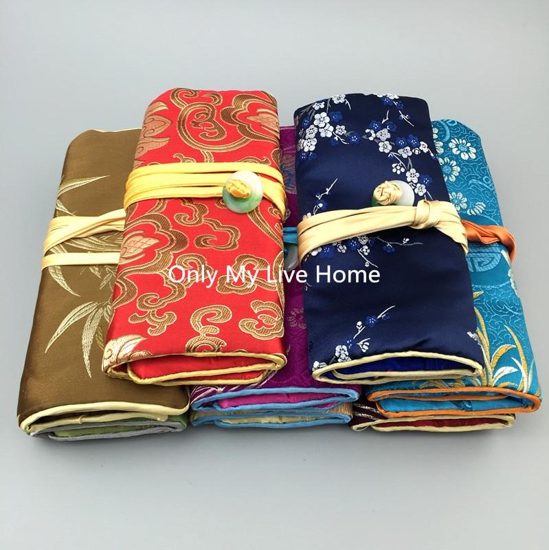 11x7 pulgadas botón grande Jade joyería rollo viaje almacenamiento 3 cremallera bolsa bolsas cordón seda satén maquillaje joyería bolsa regalo