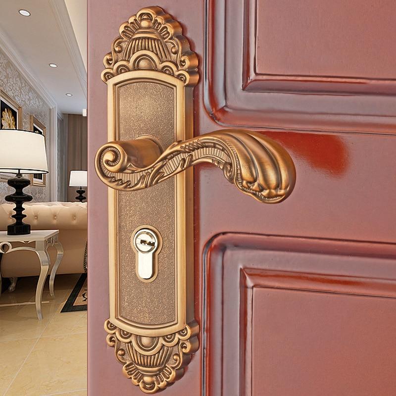 قفل باب داخلي من سبائك الألومنيوم على الطراز الأوروبي ، قفل باب غرفة النوم ، مقبض باب الحمام الخشبي