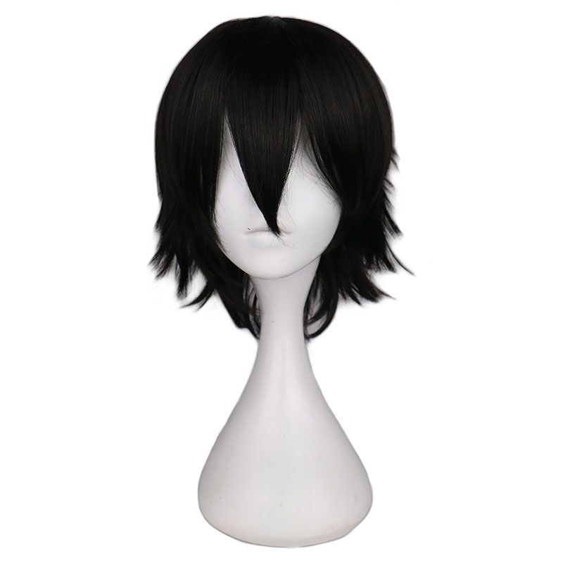 QQXCAIW Short Straight Cosplay Wig Men Male Black High 100% Temperature Fiber Synthetic Hair Wigs