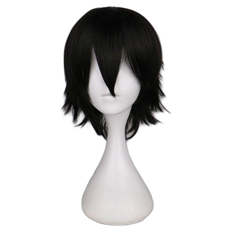 QQXCAIW peluca corta recta de Cosplay para hombres, pelucas de pelo sintético 100% fibra de alta temperatura negro para hombres