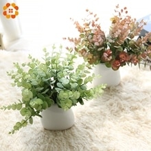 Gazon artificiel 1 branche bricolage   Fausses feuilles deucalyptus vertes en plastique pour décoration de Vases maison, décoration fête de mariage