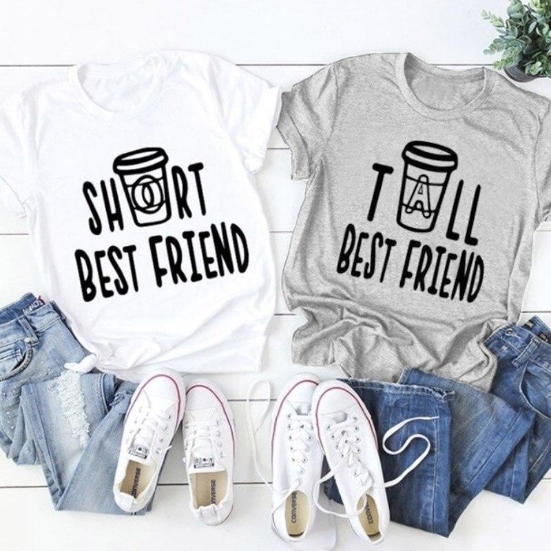 Short Tall Best Friend Print T-shirt Women Cute Summer Graphic Funny Tumblr Tee Top Plus Size Bestie Matching Girft Tshirt Femme