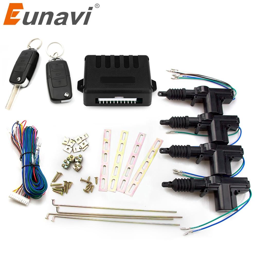 Eunavi universal carro power door lock atuador 12-volt motor (4 pacote) carro auto remoto 4 porta suporte keyless sistema de entrada