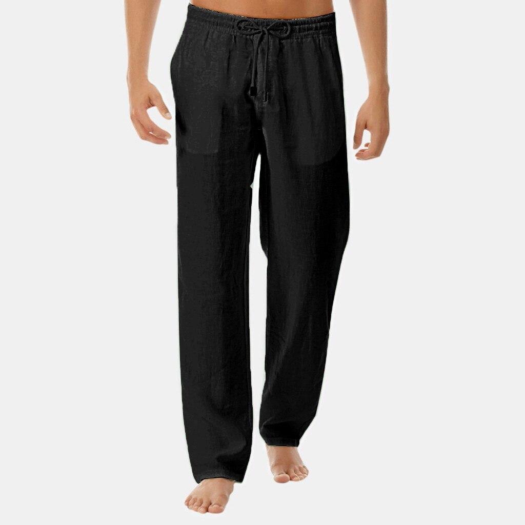 La primavera de los hombres de verano Pantalones casuales para hombres de negocios pantalones lino fino suelto cintura elástica estilo chino Pantalones de los hombres