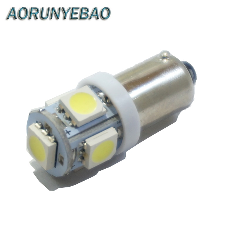 Aorunyebao 10 pces ba9s t11 t4w lâmpadas led 5led 5050 smd estilo do carro cunha lâmpada de luz lateral 12v luzes do instrumento para o carro